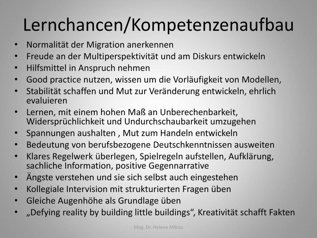 Lernchancen/Kompetenzenaufbau