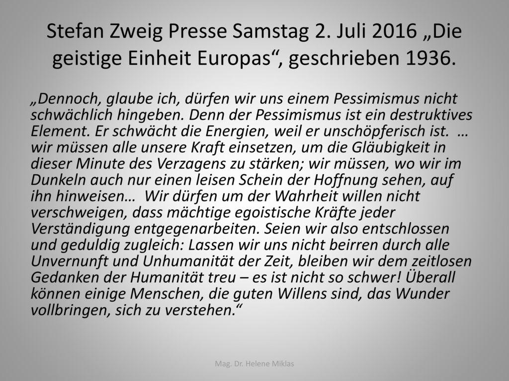 Stefan Zweig Presse Samstag 2