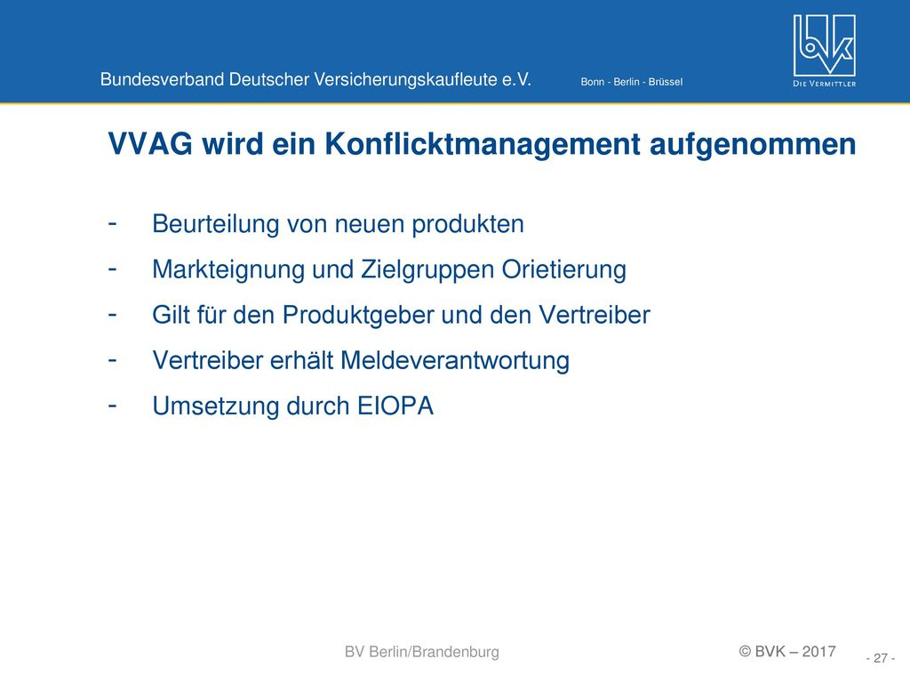 VVAG wird ein Konflicktmanagement aufgenommen
