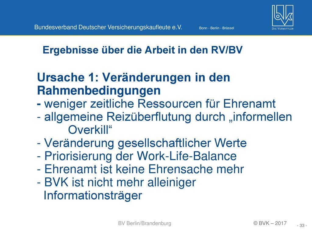 Ergebnisse über die Arbeit in den RV/BV