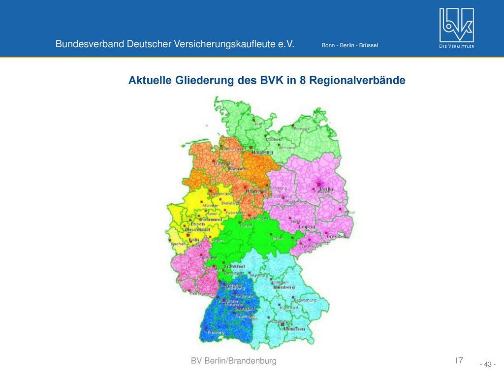 Aktuelle Gliederung des BVK in 8 Regionalverbände