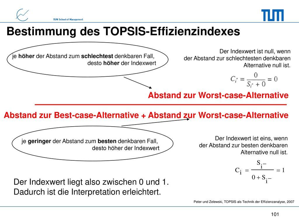 Bestimmung des TOPSIS-Effizienzindexes