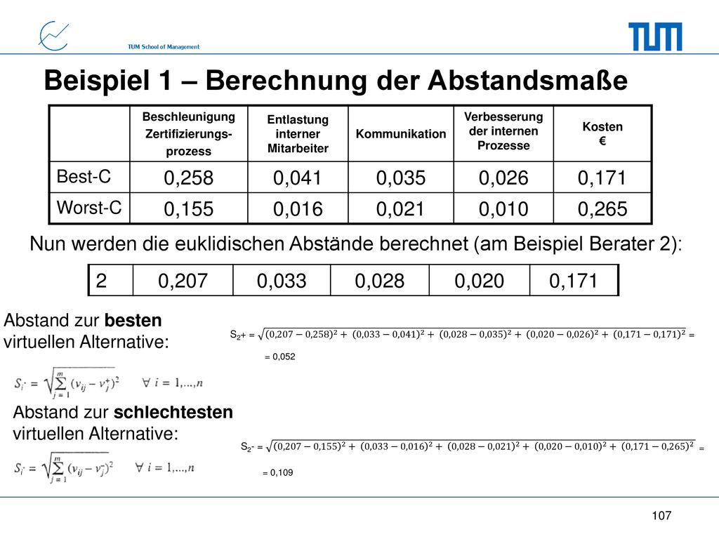 Beispiel 1 – Berechnung der Abstandsmaße