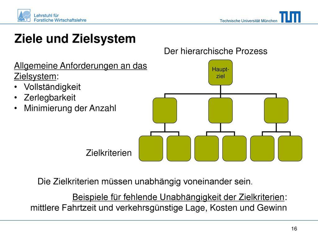 Ziele und Zielsystem Der hierarchische Prozess