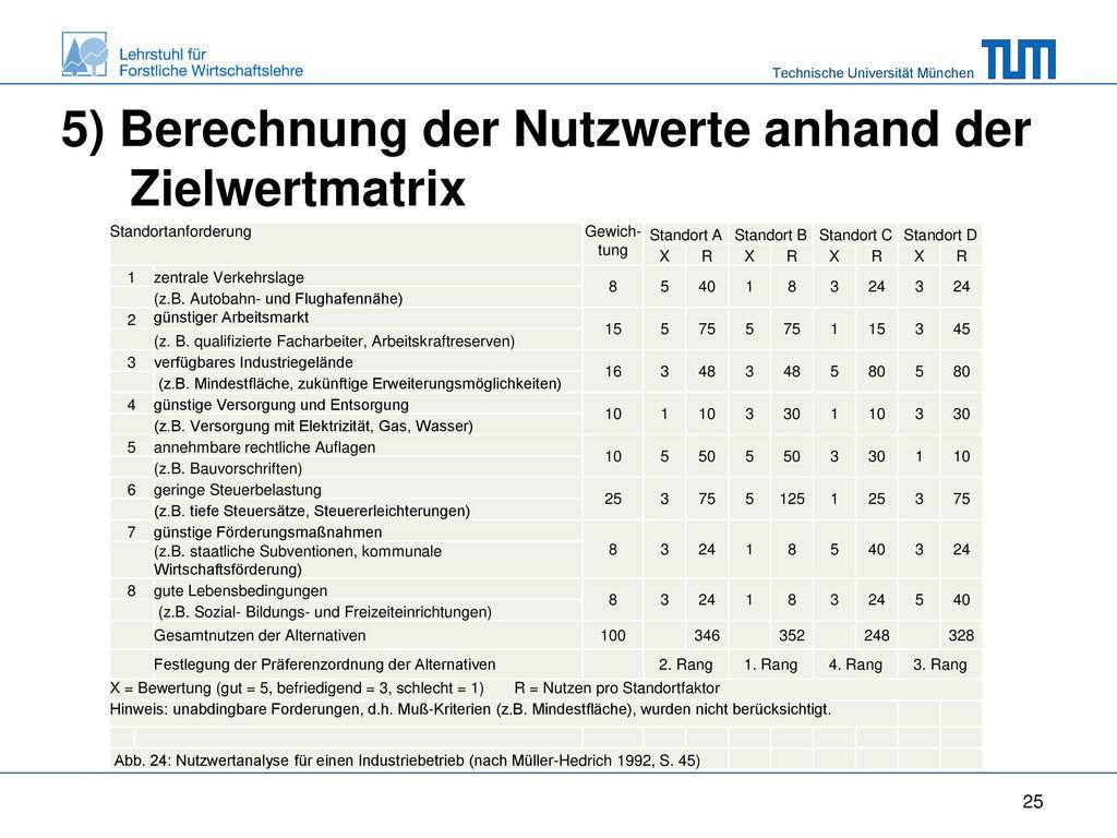 5) Berechnung der Nutzwerte anhand der Zielwertmatrix