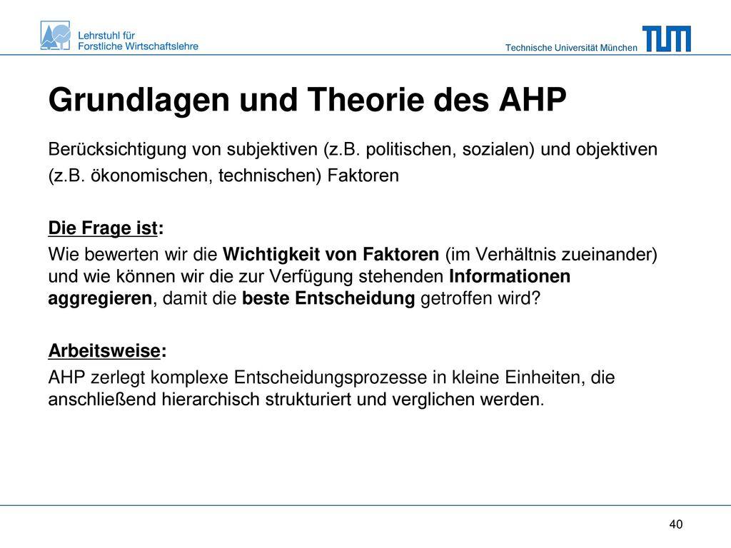 Grundlagen und Theorie des AHP