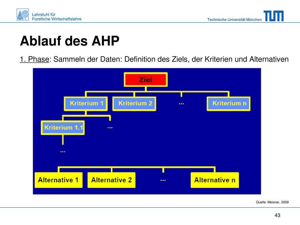 Ablauf des AHP 1. Phase: Sammeln der Daten: Definition des Ziels, der Kriterien und Alternativen.