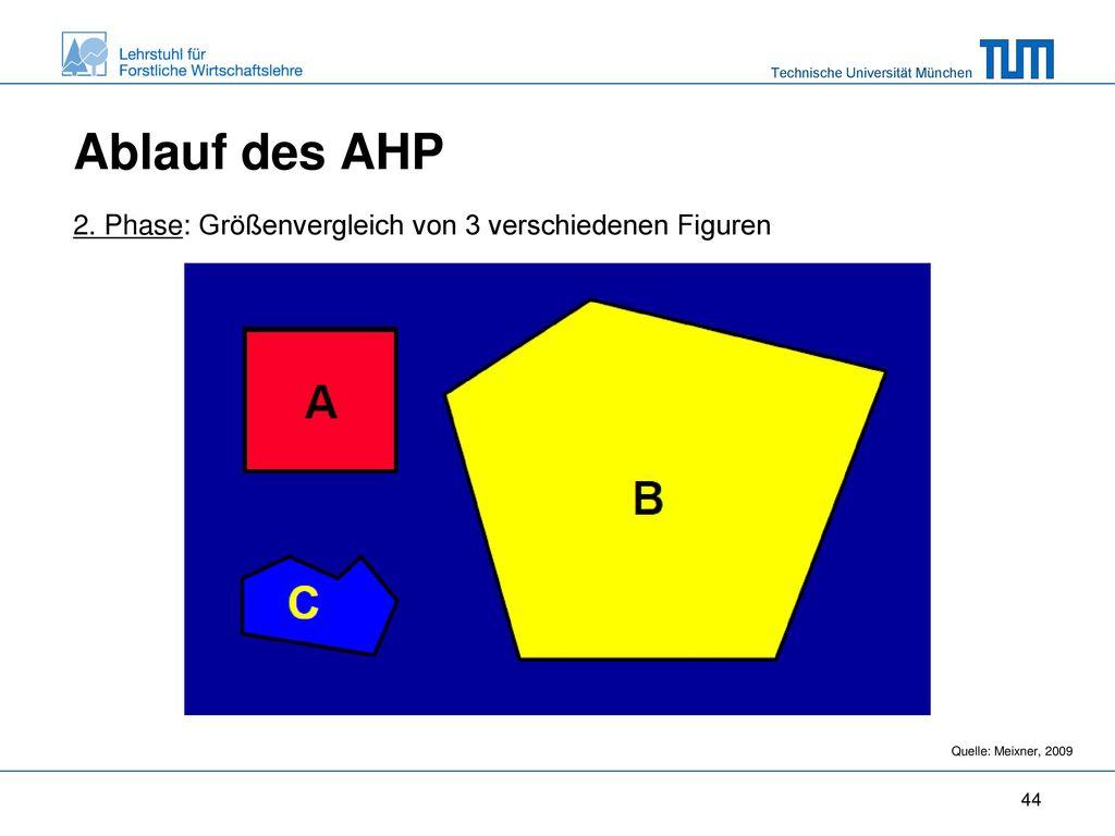 Ablauf des AHP 2. Phase: Größenvergleich von 3 verschiedenen Figuren