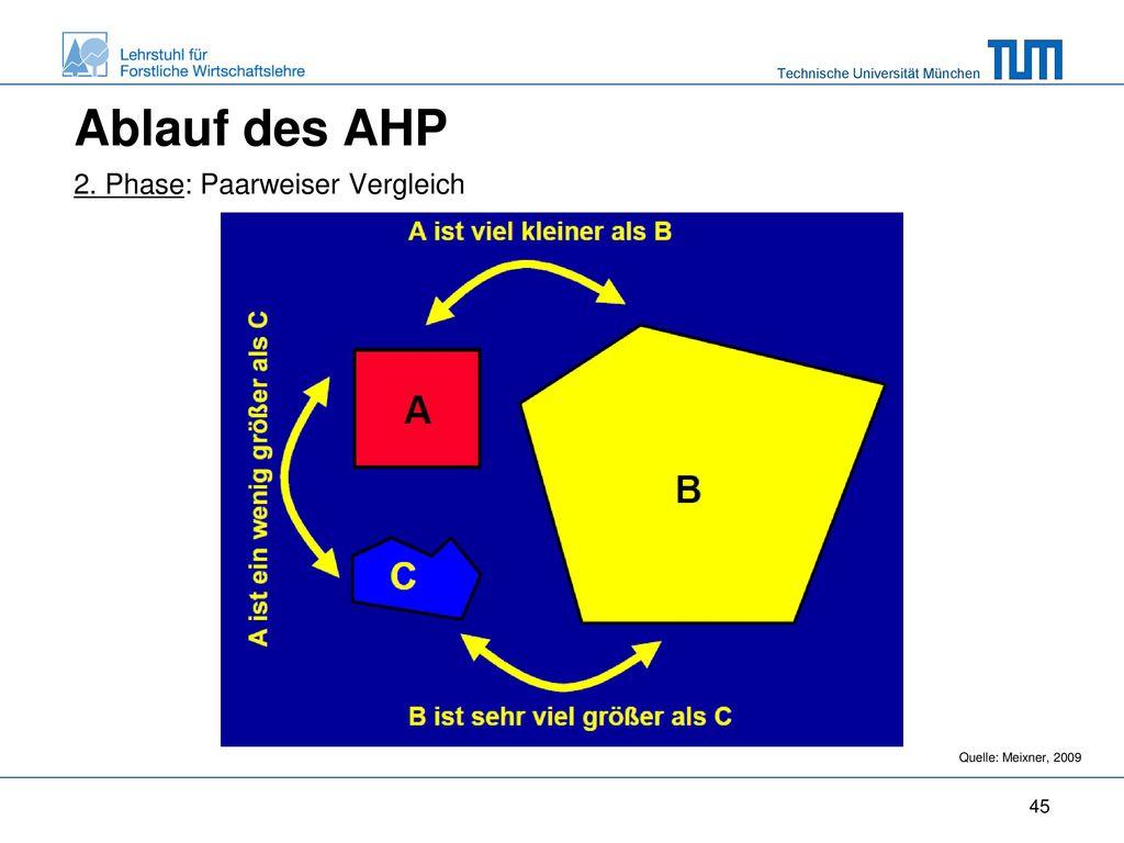 Ablauf des AHP 2. Phase: Paarweiser Vergleich Quelle: Meixner, 2009