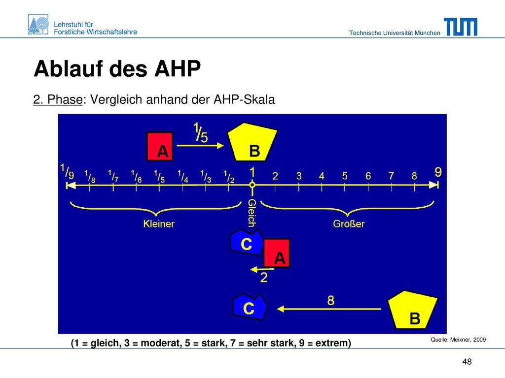 Ablauf des AHP 2. Phase: Vergleich anhand der AHP-Skala