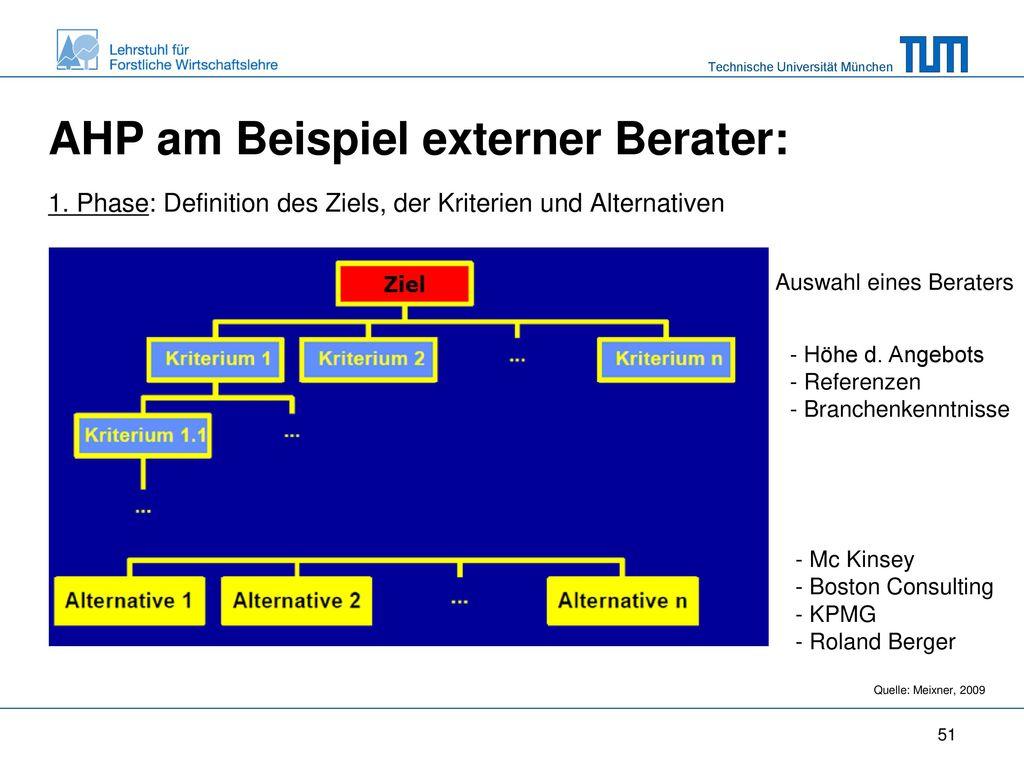AHP am Beispiel externer Berater: