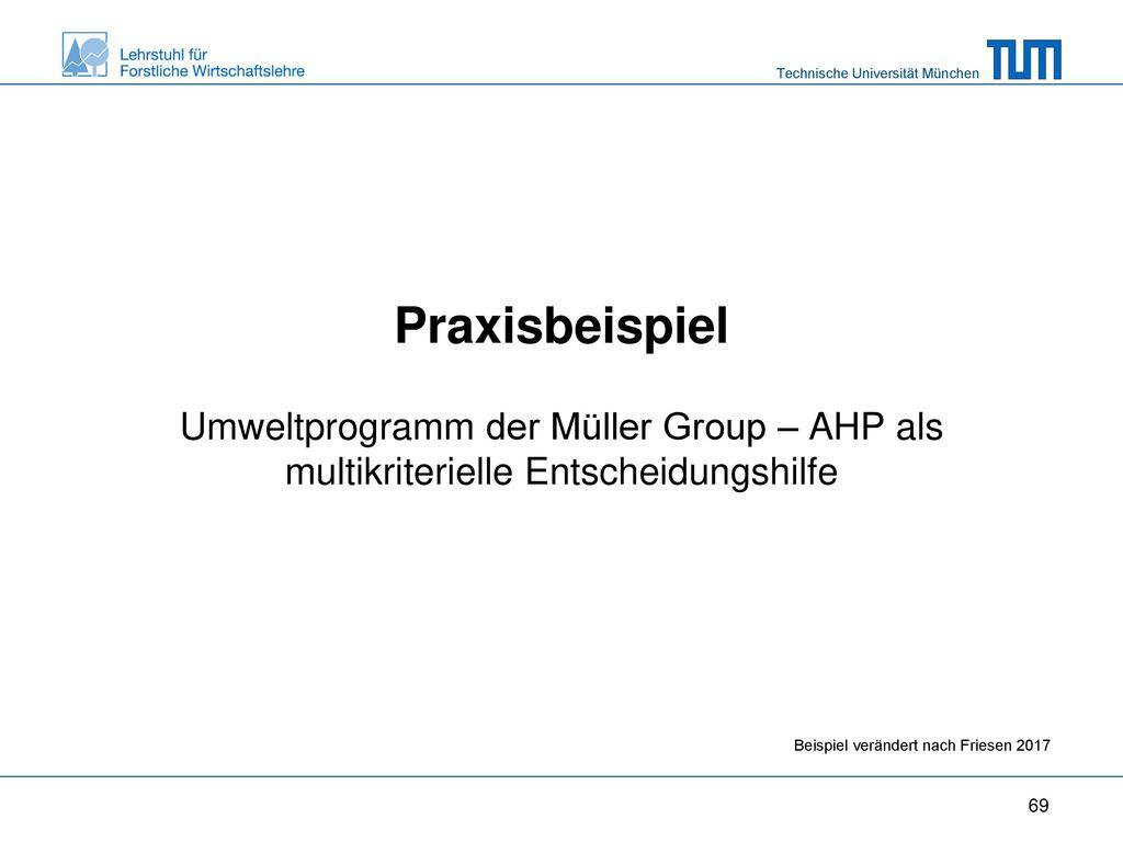 Praxisbeispiel Umweltprogramm der Müller Group – AHP als multikriterielle Entscheidungshilfe.