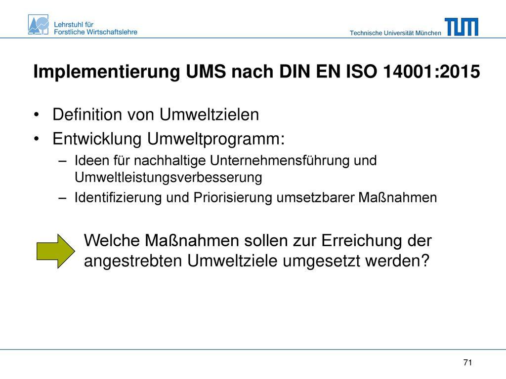 Implementierung UMS nach DIN EN ISO 14001:2015