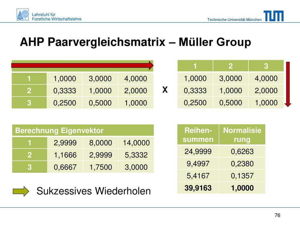 AHP Paarvergleichsmatrix – Müller Group
