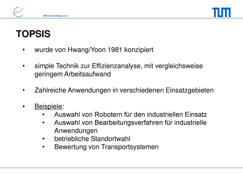 TOPSIS wurde von Hwang/Yoon 1981 konzipiert