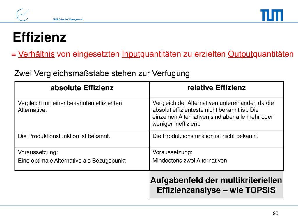 Aufgabenfeld der multikriteriellen Effizienzanalyse – wie TOPSIS