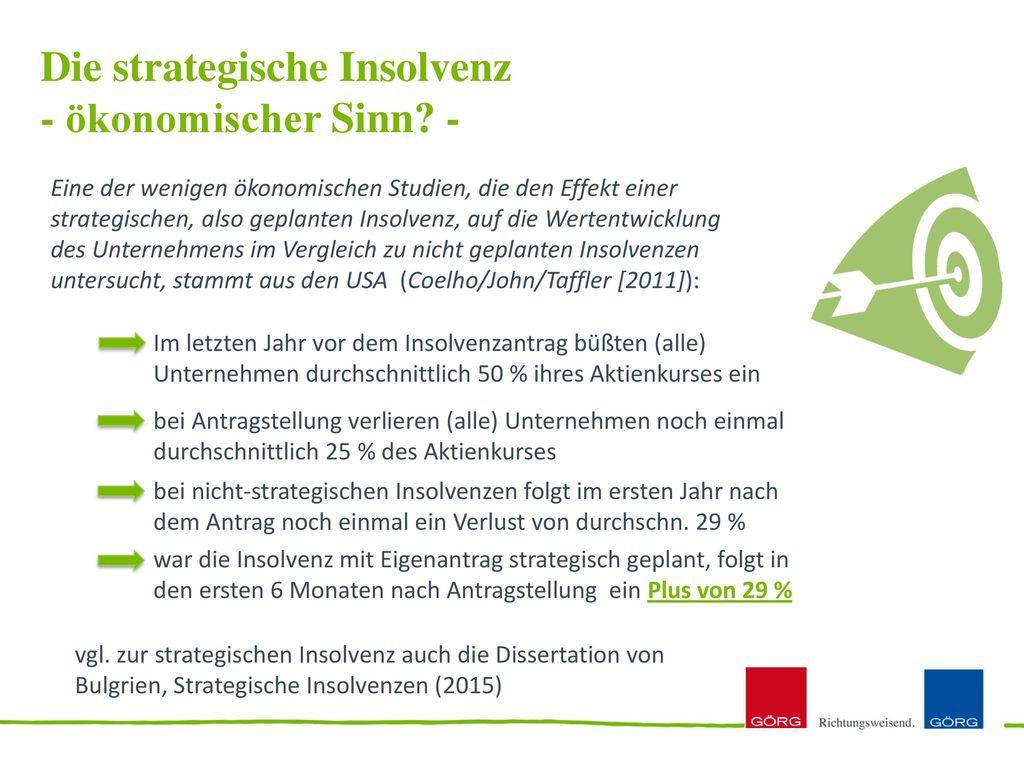 Die strategische Insolvenz - ökonomischer Sinn -