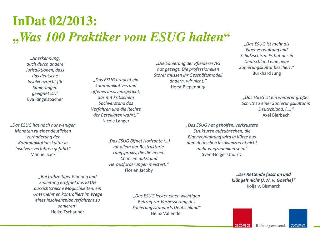 """InDat 02/2013: """"Was 100 Praktiker vom ESUG halten"""