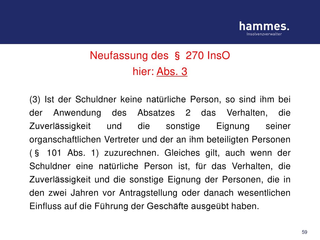 Neufassung des § 270 InsO hier: Abs. 3
