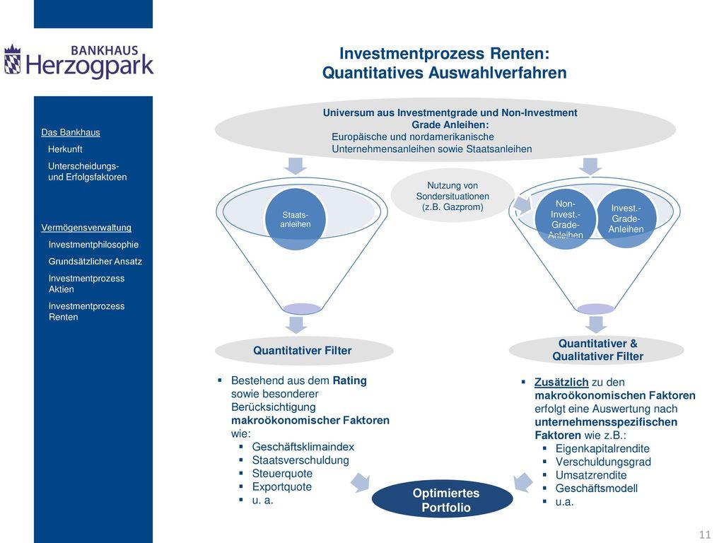 Investmentprozess Renten: Quantitatives Auswahlverfahren