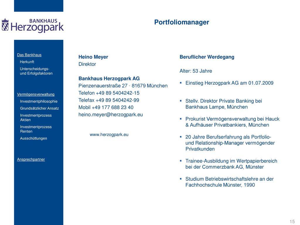 Portfoliomanager Heino Meyer Beruflicher Werdegang Direktor