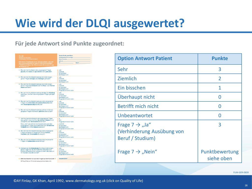 Wie wird der DLQI ausgewertet