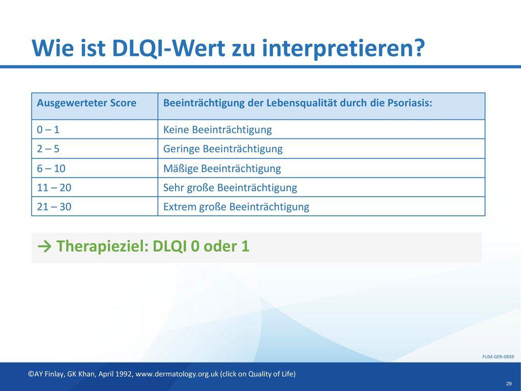 Wie ist DLQI-Wert zu interpretieren