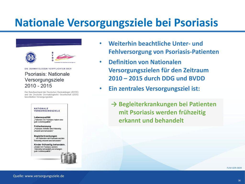 Nationale Versorgungsziele bei Psoriasis