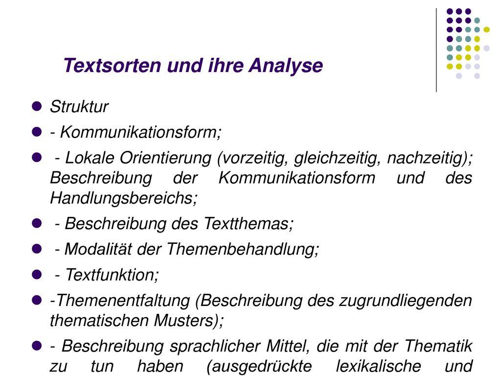 Textsorten und ihre Analyse