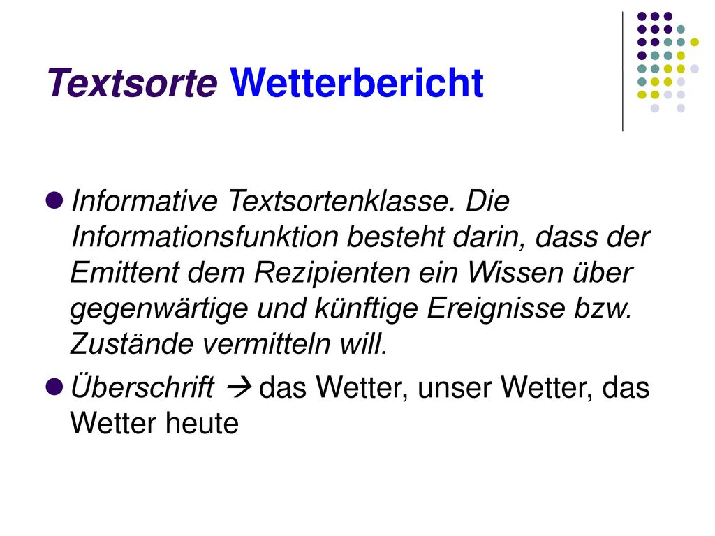 Textsorte Wetterbericht
