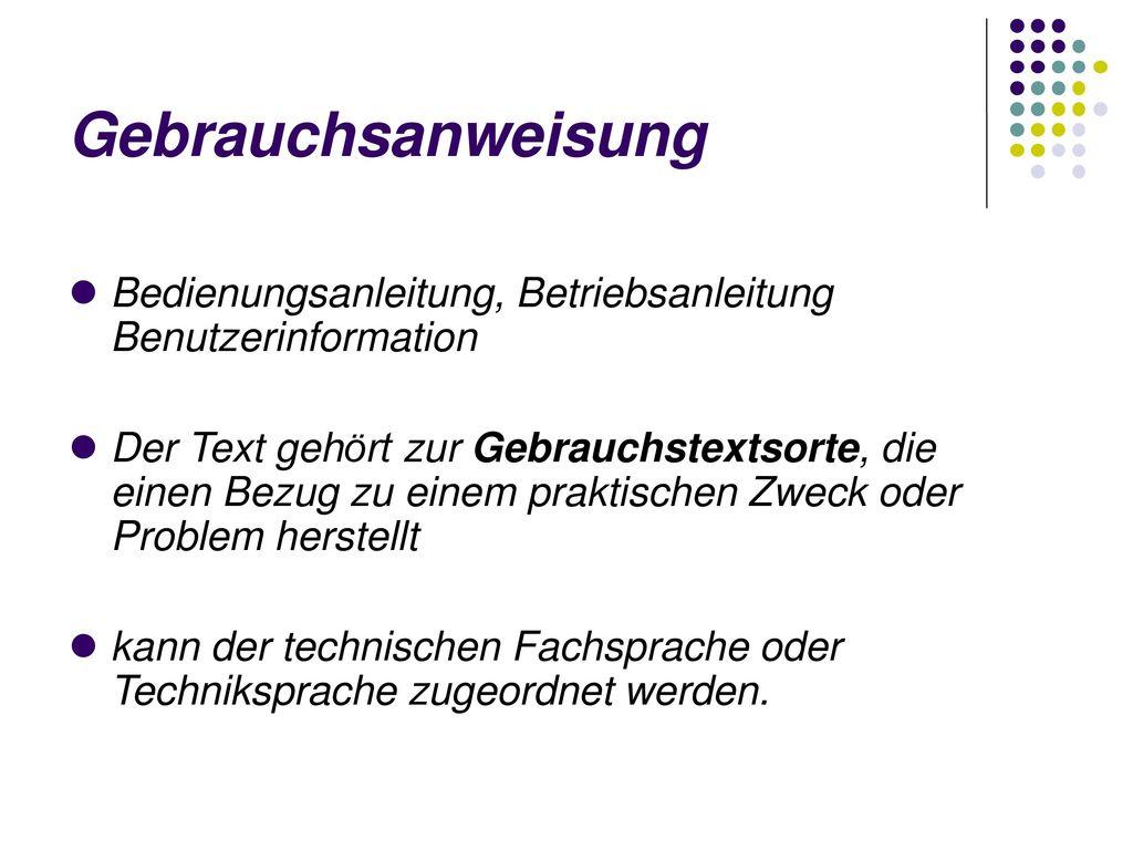 Gebrauchsanweisung Bedienungsanleitung, Betriebsanleitung Benutzerinformation.