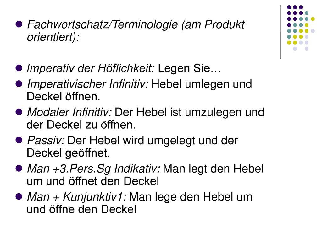 Fachwortschatz/Terminologie (am Produkt orientiert):
