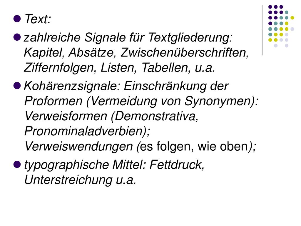 typographische Mittel: Fettdruck, Unterstreichung u.a.