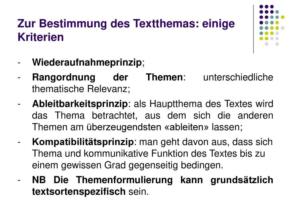 Zur Bestimmung des Textthemas: einige Kriterien