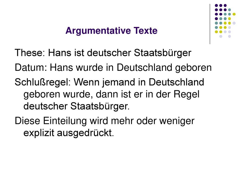 These: Hans ist deutscher Staatsbürger