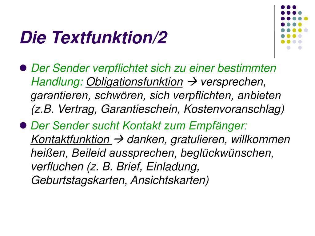 Die Textfunktion/2