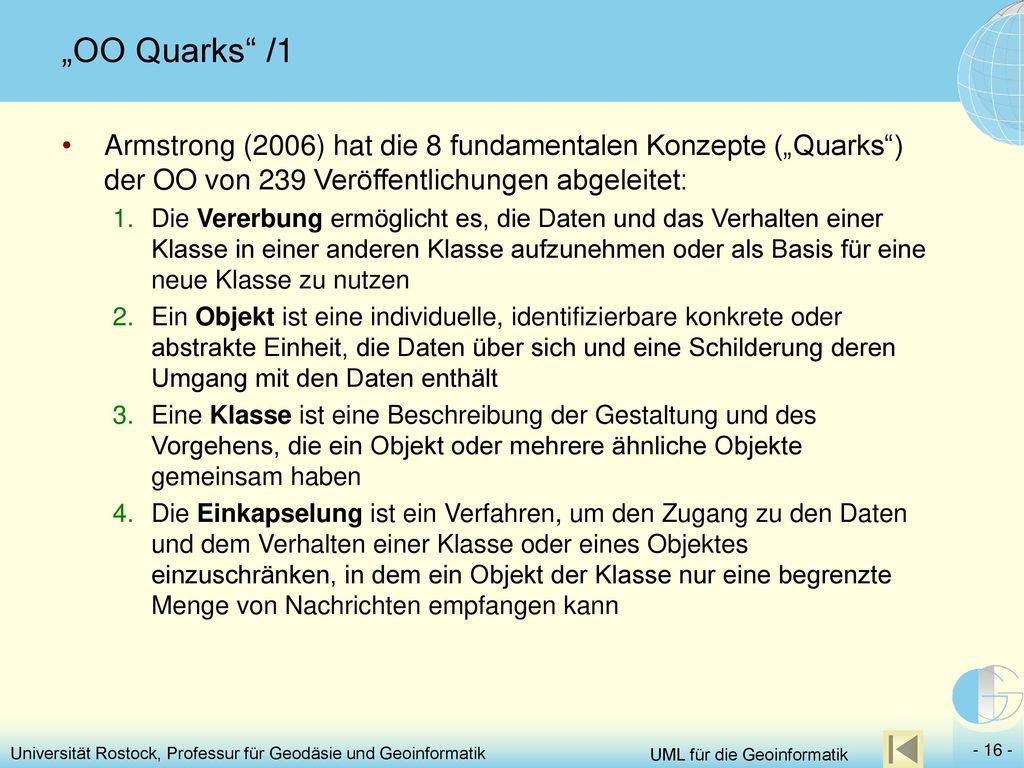 """""""OO Quarks /1 Armstrong (2006) hat die 8 fundamentalen Konzepte (""""Quarks ) der OO von 239 Veröffentlichungen abgeleitet:"""