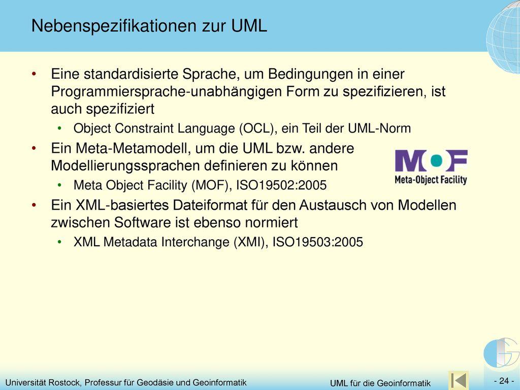 Nebenspezifikationen zur UML