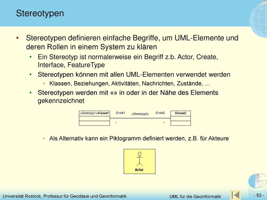 Stereotypen Stereotypen definieren einfache Begriffe, um UML-Elemente und deren Rollen in einem System zu klären.