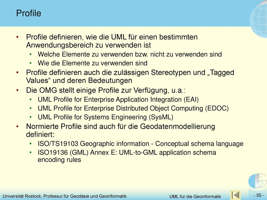 Profile Profile definieren, wie die UML für einen bestimmten Anwendungsbereich zu verwenden ist.