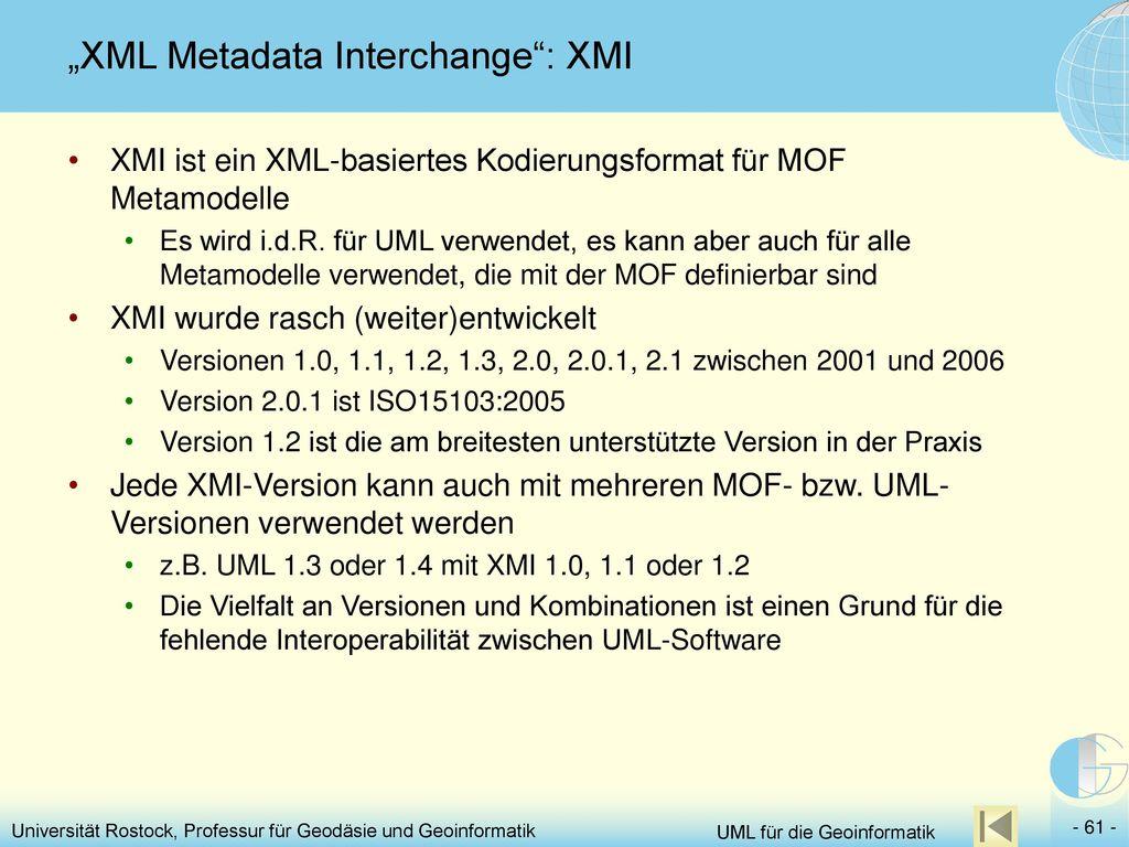 """XML Metadata Interchange : XMI"