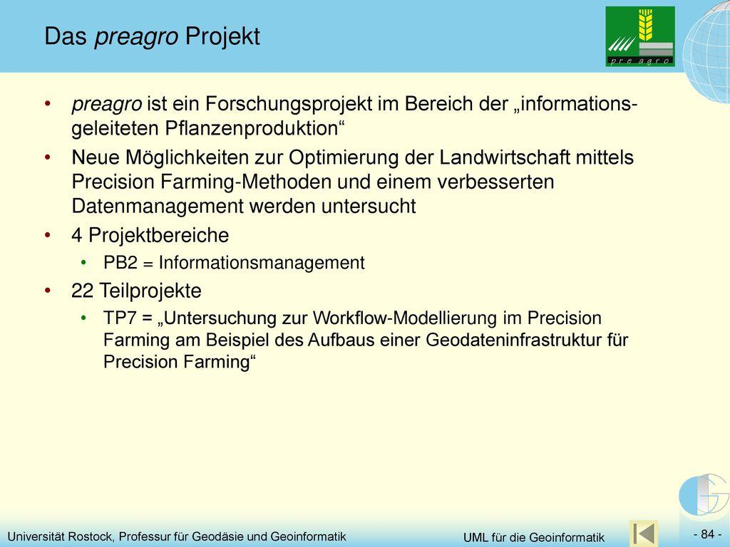 """Das preagro Projekt preagro ist ein Forschungsprojekt im Bereich der """"informations-geleiteten Pflanzenproduktion"""