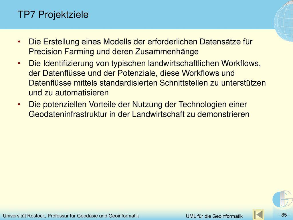 TP7 Projektziele Die Erstellung eines Modells der erforderlichen Datensätze für Precision Farming und deren Zusammenhänge.