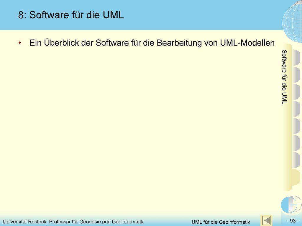 8: Software für die UML Ein Überblick der Software für die Bearbeitung von UML-Modellen. Software für die UML.
