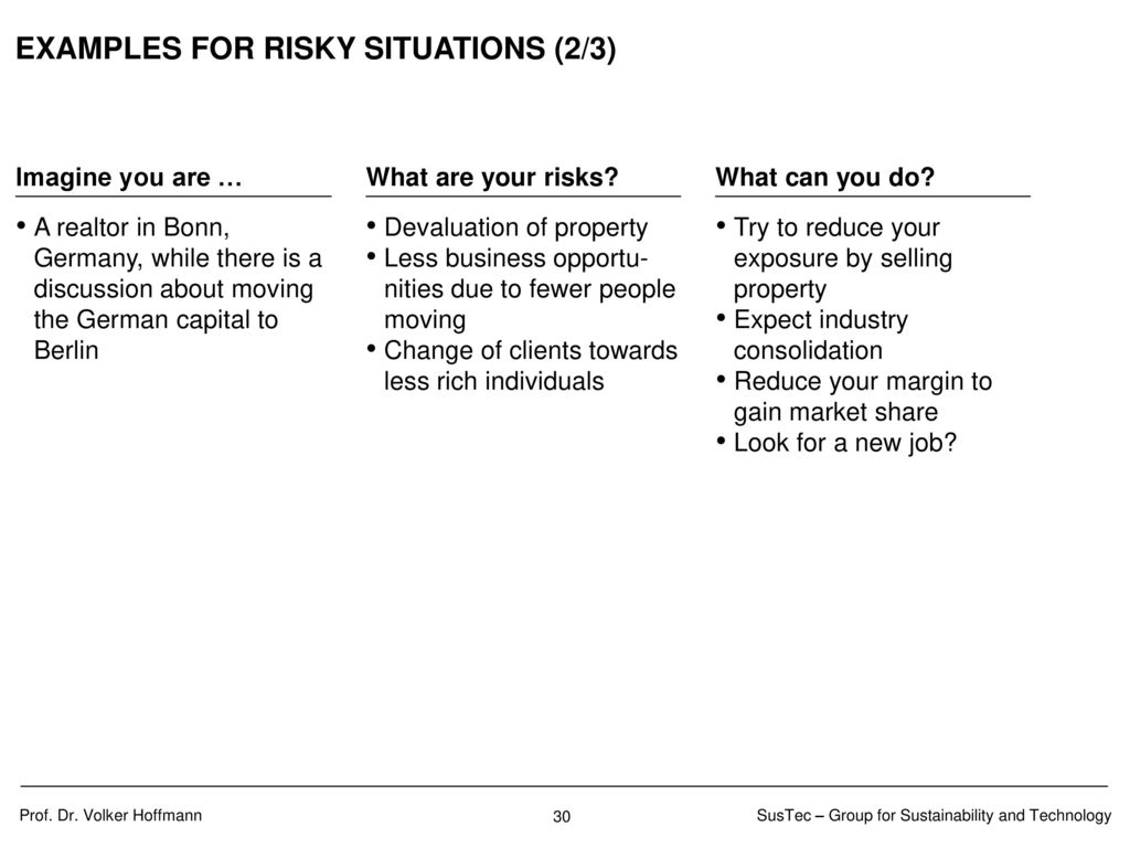 EXAMPLES FOR RISKY SITUATIONS (3/3)