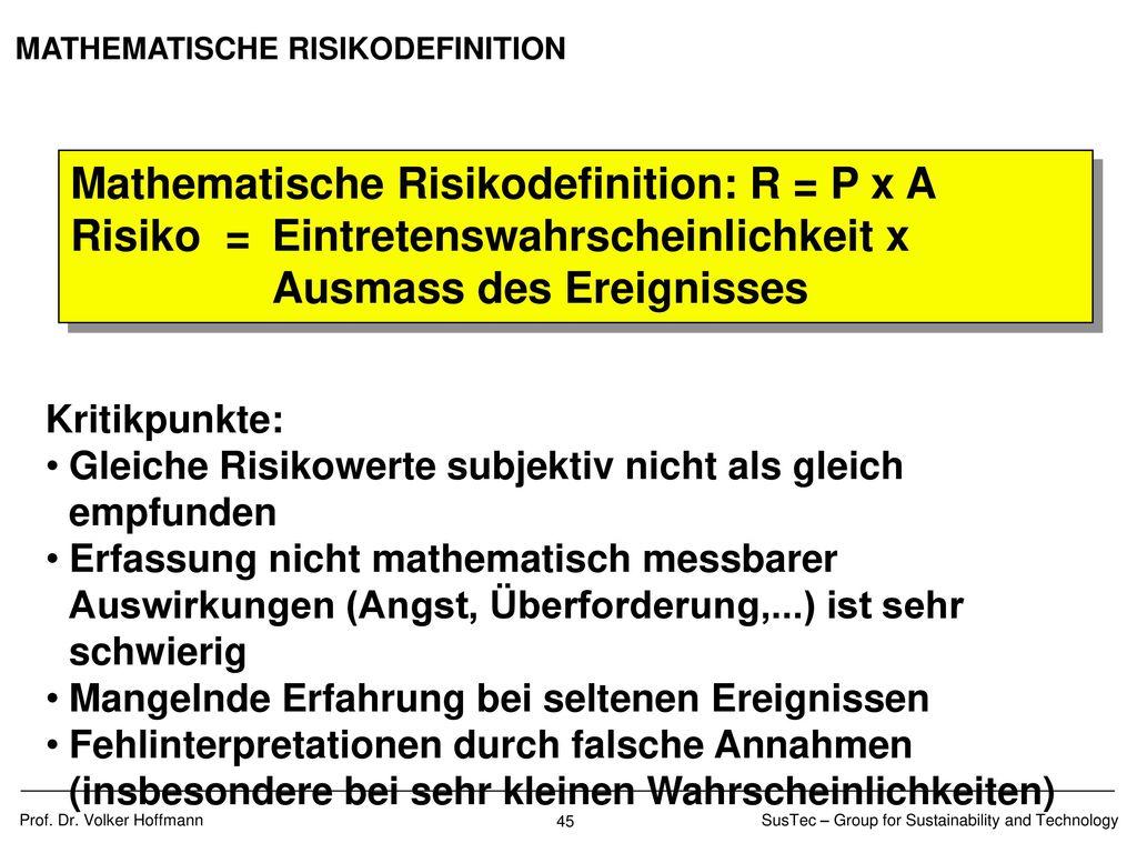 BEURTEILUNG RISIKO INVESTITIONEN
