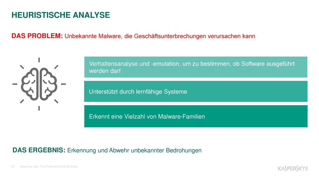 HEURISTISCHE ANALYSE DAS PROBLEM: Unbekannte Malware, die Geschäftsunterbrechungen verursachen kann.