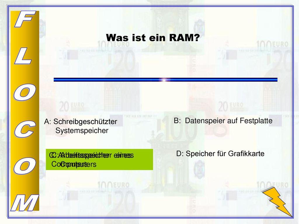 FLOCOM Was ist ein RAM A: Schreibgeschützter Systemspeicher