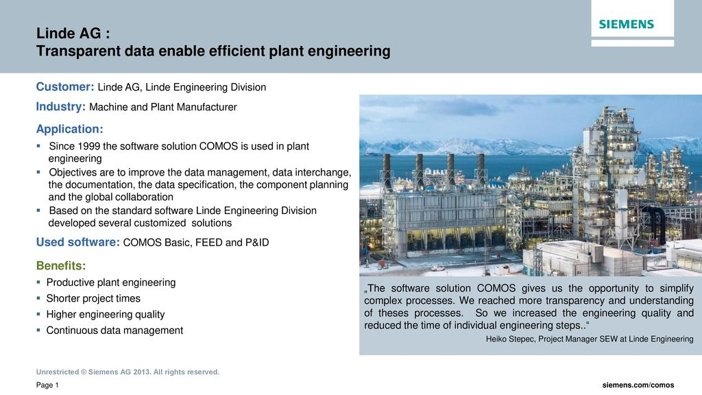 Linde AG : Transparent data enable efficient plant engineering
