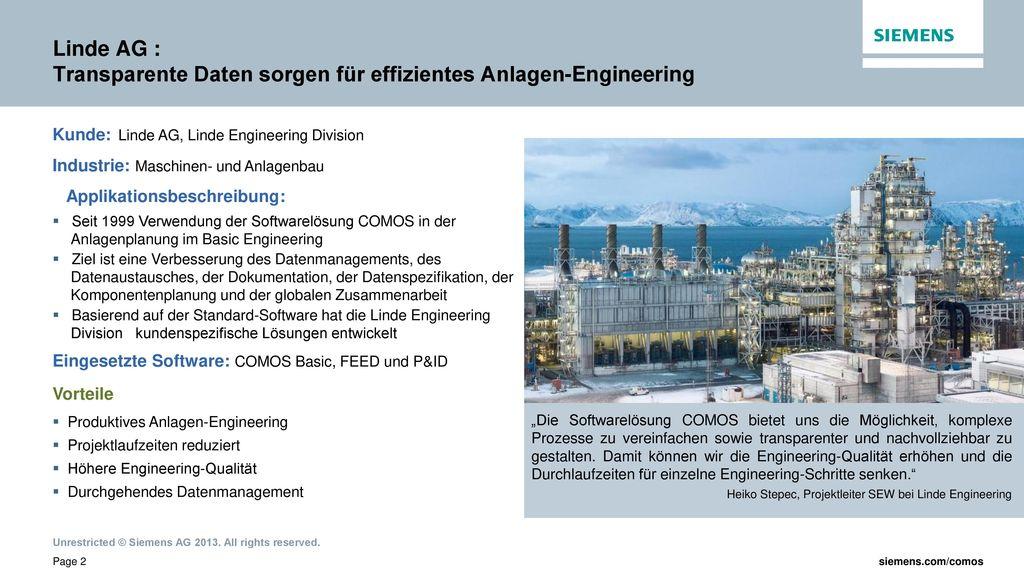 Linde AG : Transparente Daten sorgen für effizientes Anlagen-Engineering